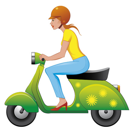 motorcyclist: Scooter girl Illustration