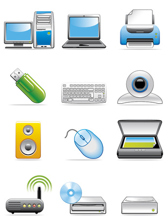 Computer devices icons Illustration