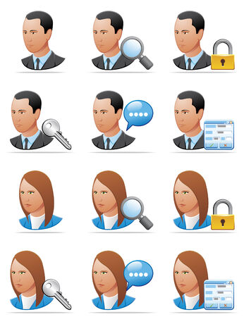 User icons (detailed face) Vector