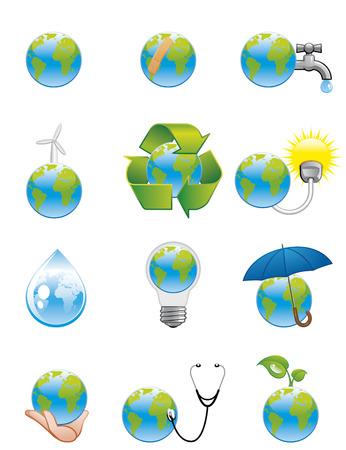 Green earth icons Stock Vector - 4795676