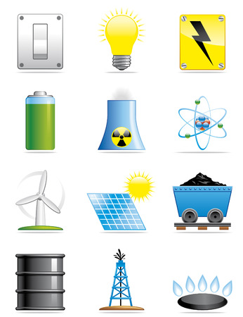 gas flame: Energia icone Vettoriali