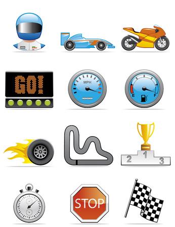 motor racing: Motor iconos Vectores