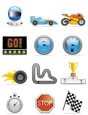 Motor racing icons Vector