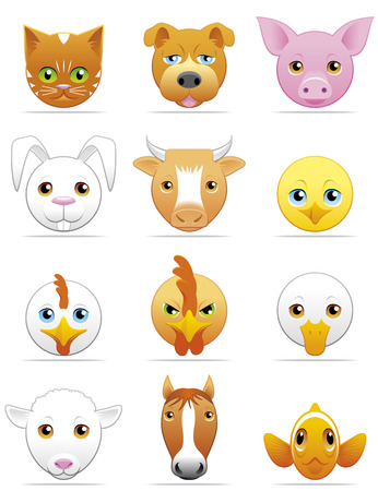 Pets and farm animals icons Vector