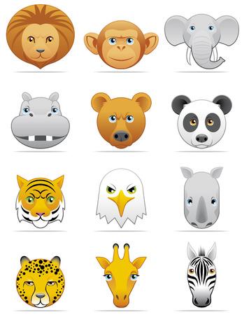 hipopotamo caricatura: Iconos de animales salvajes