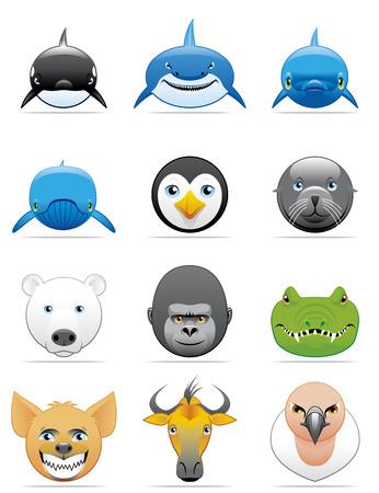 Wild animals icons Illustration
