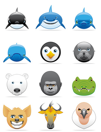 killer whale: Wild animals icons Illustration