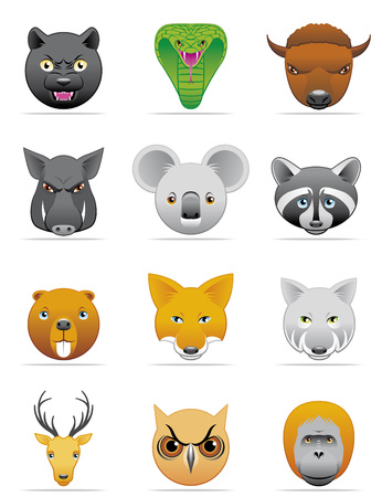 Wild animals icons Illustration