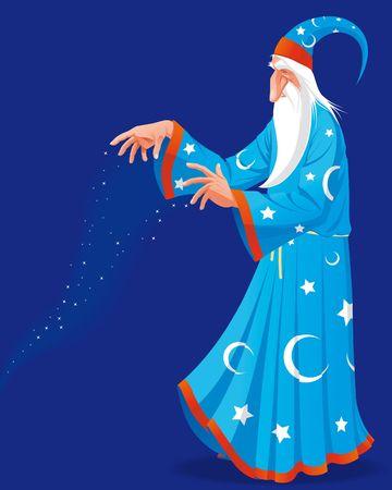 grey hair: Wizard making magic Stock Photo