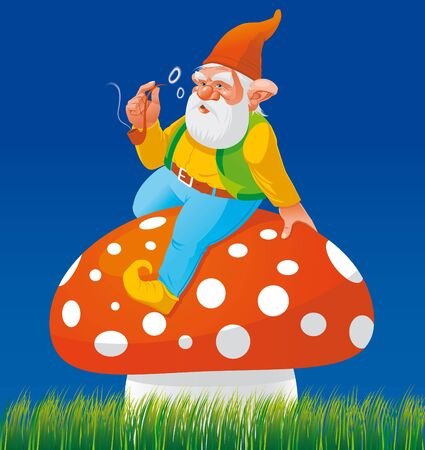 Gnome smoking on mushroom