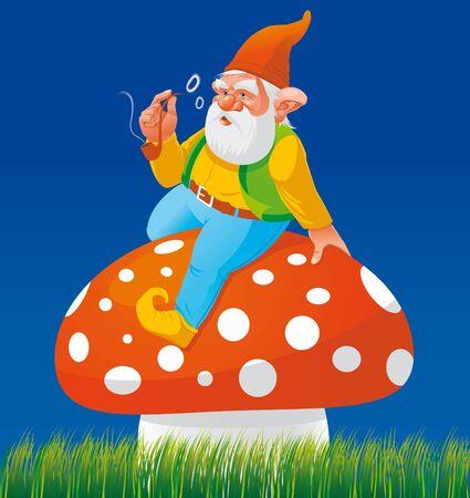 Gnome smoking on mushroom