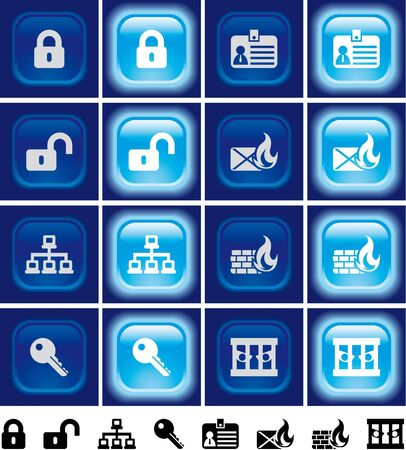 quarantine: Internet security  buttons with light effect Light off and on Stock Photo