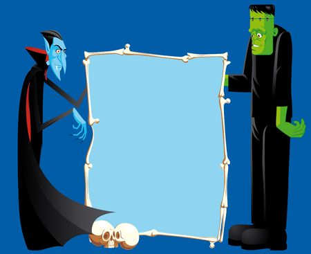Dracula And Frankenstein With Bones Frame photo