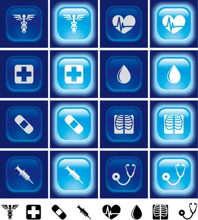 Medical buttons with light effect Off and on photo