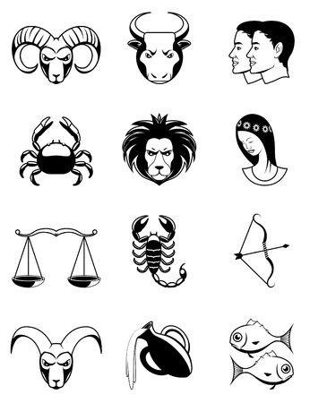 Zodiac icons Black and white