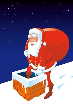 going down: Santa going down de chimney Stock Photo