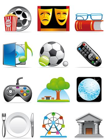exhibition: Leisure time icons Stock Photo