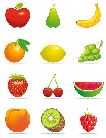pear: Fruit icons Stock Photo