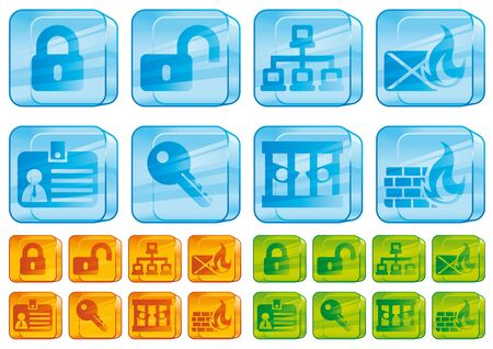 Internet security glass icons Stock Photo - 6382296
