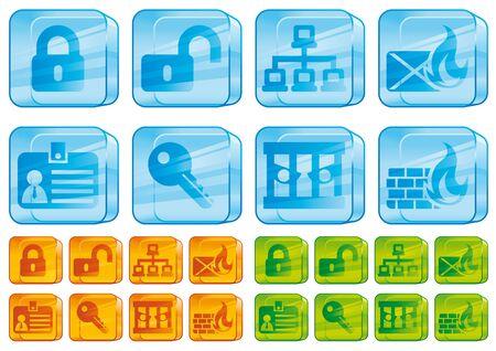 quarantine: Internet security glass icons