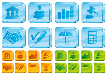 Finance glass icons Stock Photo - 6382303