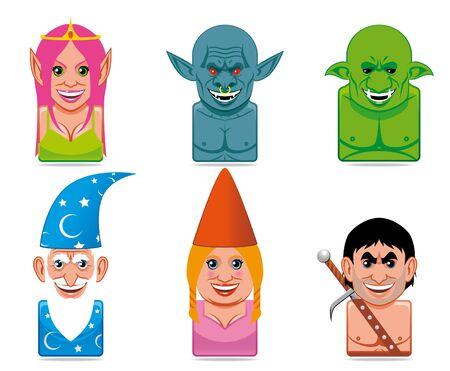 Cartoon fantasy characters icons Stock Photo - 6760066