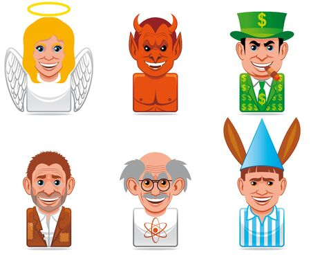 contrary: Cartoon people icons (contrary concepts:angelevil,richpoor,geniusfool)