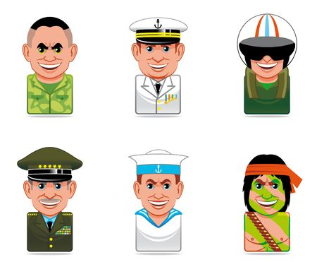fighter pilot: Cartoon people icons (army)