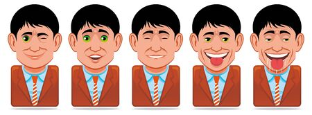 drool: Avatar people icons (facial expression:wink,surprise,pleasure,droll) Stock Photo