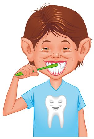 Child cleaning tooth