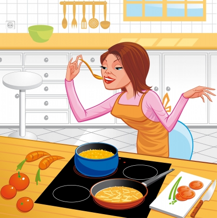 piece of furniture: Woman cooking Stock Photo