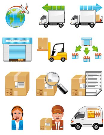 Storage and delivery icons photo