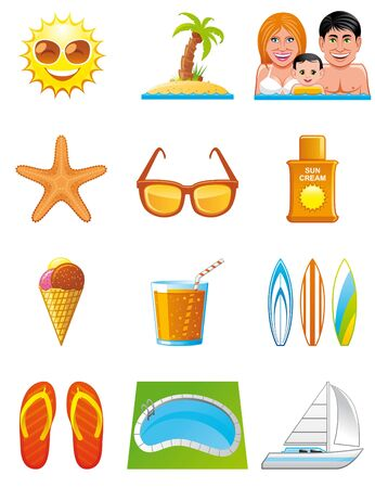 Summer vacations icons Stock Photo - 7050067