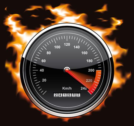 Speedometer involved in flames Stock Photo