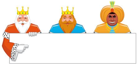 melchor: Wise men with blank sign Stock Photo