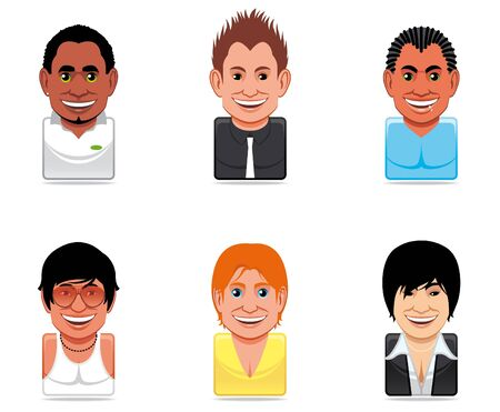mulatto: Avatar people icons (handsome men) Stock Photo