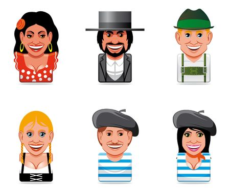 beret: Avatar world people icons(spanish,german and french) Stock Photo