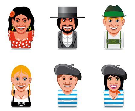 estereotipo: Iconos de gente de mundo de Avatar (espa�ol, alem�n y franc�s)