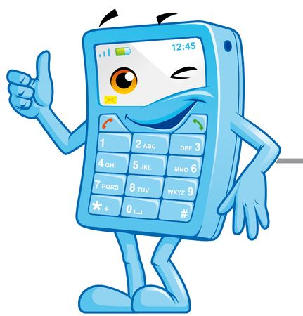 Mobile phone mascot Stock Photo