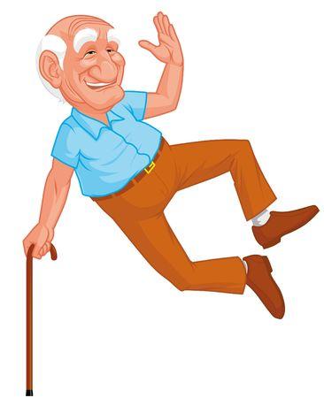 vejez feliz: Abuelo saludable saltando  Foto de archivo