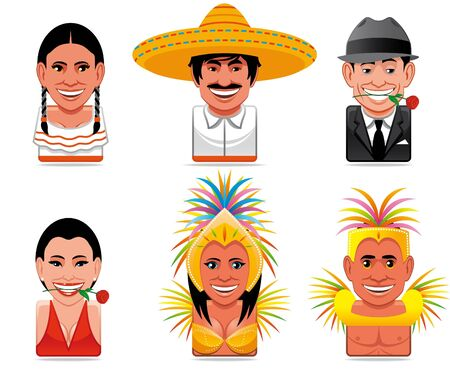 stereotypical: Avatar world people icons (stereotypical representation of people from mexico,argentina and brazil)