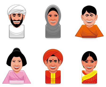 stereotypical:  Avatar world people icons (stereotypical representation of people from arabia,japan and india)