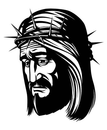 crown of thorns: Isolated portrait of  Jesus with crown of thorns Stock Photo