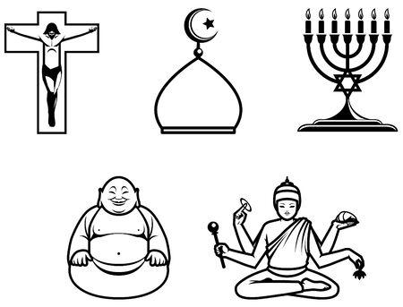 candelabrum: Religious symbols of 5 main world religions. Stock Photo