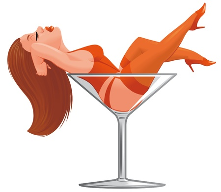 sexy woman lingerie:  Cartoon pinup in wineglass Stock Photo