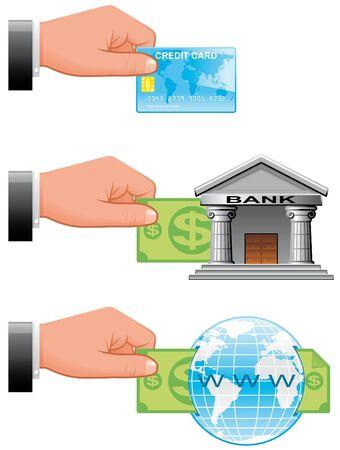 bank overschrijving:  Pictogrammen van betalings manieren voor online winkelen