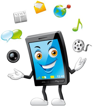 Smartphone character doing juggling with applications icons Stock Photo - 8559519