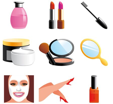 Beauty and cosmetic icons Imagens