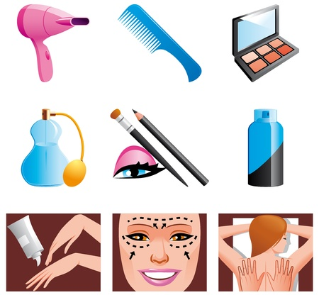 cosmetic surgery: Beauty and cosmetic icons Stock Photo