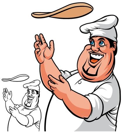 cartoon worker: Cocinero de Pizza